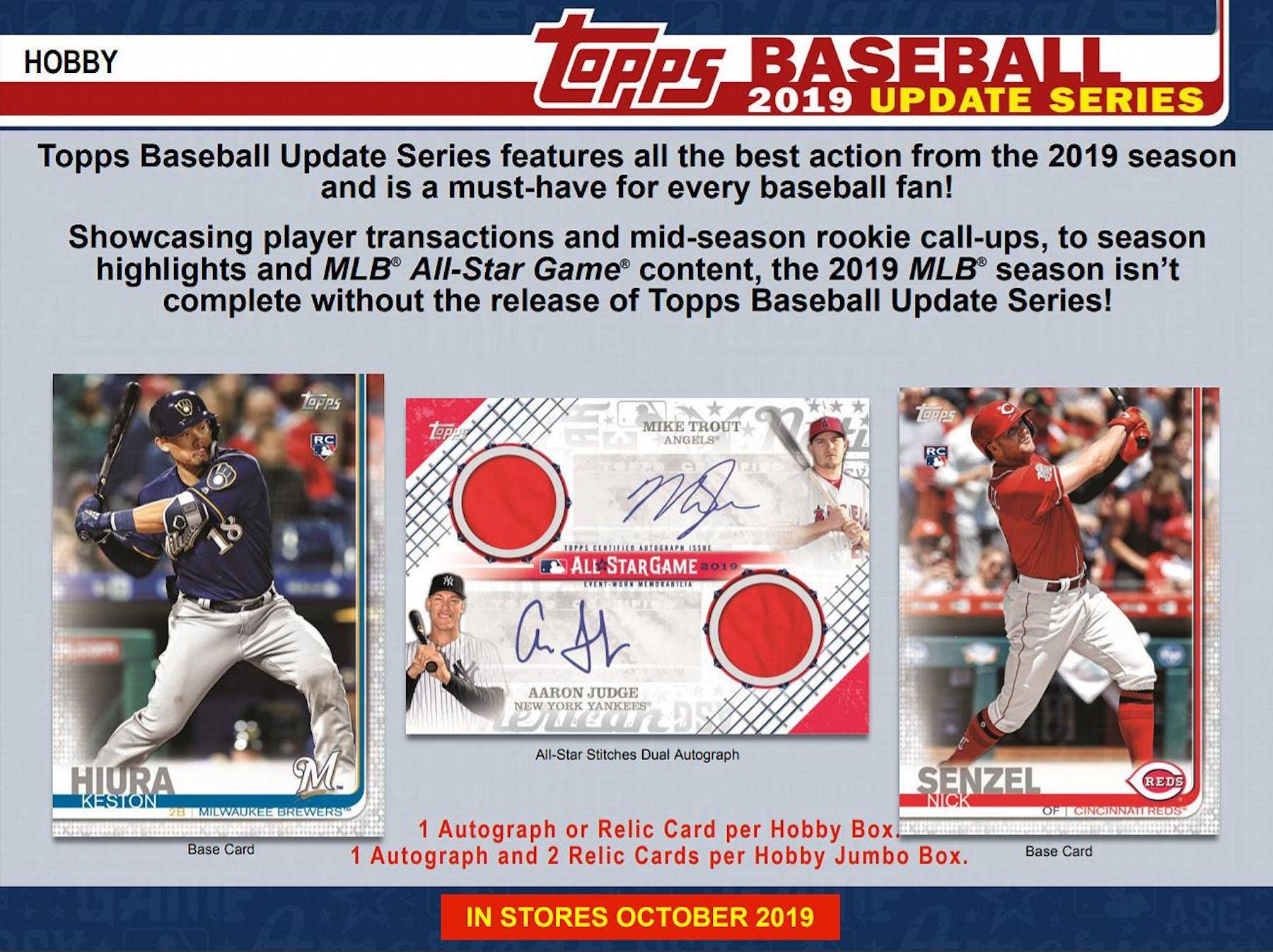 2019 Topps Update Series Baseball Hobby Jumbo 6 Box Case
