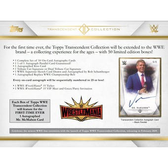 2019 Topps WWE Transcendent Collection Wrestling Hobby Case- DACW Live 55 Spot Random Hit Break #1