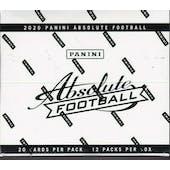 2020 Panini Absolute Football Jumbo/Fat Pack Box (12 Packs)