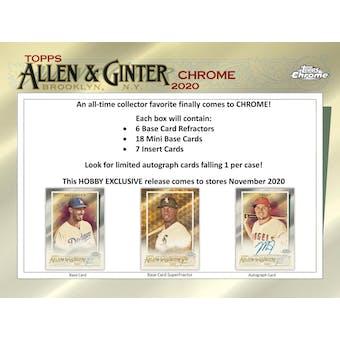 2020 Topps Allen & Ginter Chrome Baseball Hobby Box (Presell)