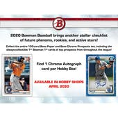 2020 Bowman Baseball Hobby 12-Box Case (Presell)