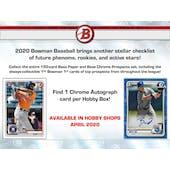 2020 Bowman Baseball Hobby Box (Presell)
