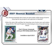 2021 Bowman Baseball Hobby Jumbo 8-Box Case (Presell)