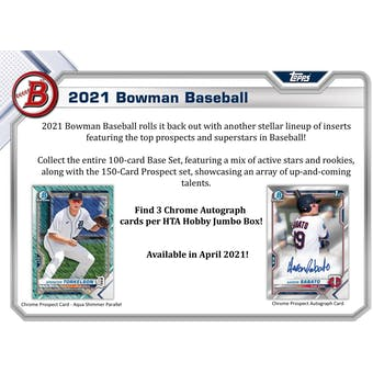 2021 Bowman Baseball Hobby Jumbo 3-Box- DACW Live 6 Spot Random Division Break #1
