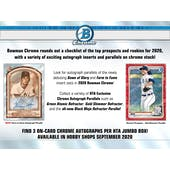 2020 Bowman Chrome Baseball HTA Jumbo 12-Box Case (Presell)