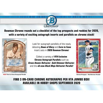 2020 Bowman Chrome Baseball HTA Jumbo 4-Box- DACW Live 6 Spot Random Division Break #2