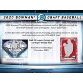 2020 Bowman Draft Baseball Hobby Jumbo 2-Box Lot - SHIPS EARLY DECEMBER