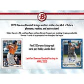 2020 Bowman Baseball Hobby Jumbo Box (Presell)