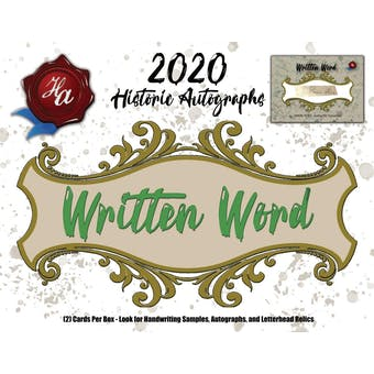 2020 Historic Autographs Written Word Baseball Hobby Box
