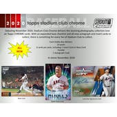 2020 Topps Stadium Club Chrome Baseball Hobby 2-Box Lot - SHIPS EARLY DECEMBER