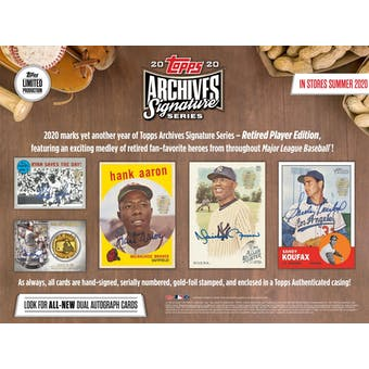 2020 Topps Archives Signature Series Retired Player Edition Baseball Hobby Box (Presell)