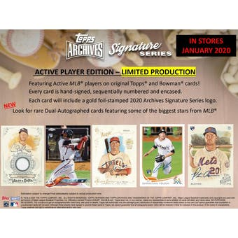 2020 Topps Archives Signature Series Baseball Hobby Box (Presell)