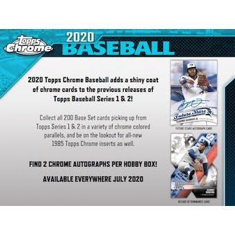 2020 Topps Chrome Baseball Hobby Box (Presell)