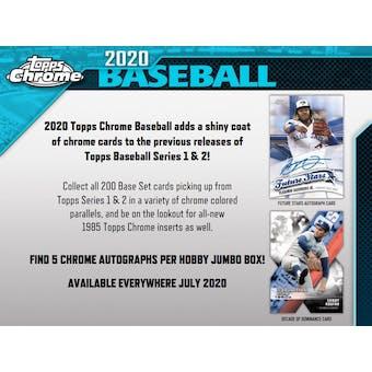 2020 Topps Chrome Baseball Hobby Jumbo 8-Box Case (Presell)