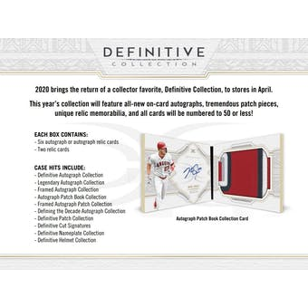 2020 Topps Definitive Collection Baseball Hobby 3-Box Case (Presell)