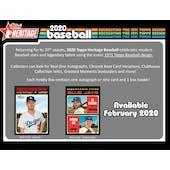 2020 Topps Heritage Baseball Hobby Box (Presell)