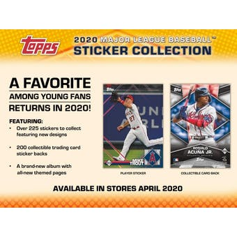 2020 Topps Baseball MLB Sticker Collection 16-Box Case (Presell)