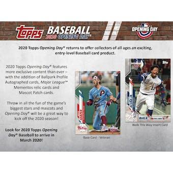 2020 Topps Opening Day Baseball Hobby 20-Box Case (Presell)