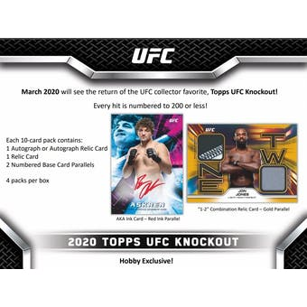 2020 Topps UFC Knockout Hobby 12-Box Case (Presell)