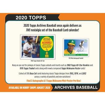 2020 Topps Archives Baseball Hobby Box (Presell)