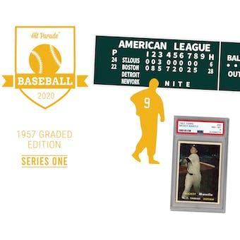 2020 Hit Parade 1957 Topps Baseball Graded Edition - Series 1 - Hobby Box /204 Mantle-Mays-Aaron