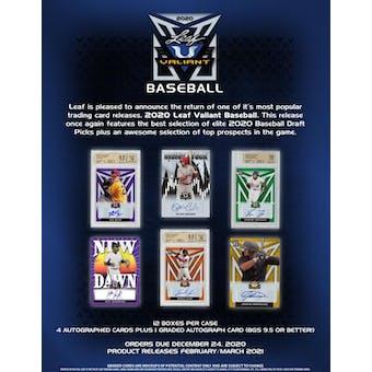 2020 Leaf Valiant Baseball Hobby 12-Box Case (Presell)