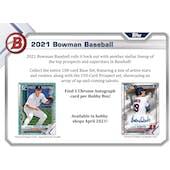 2021 Bowman Baseball Hobby Box (Presell)