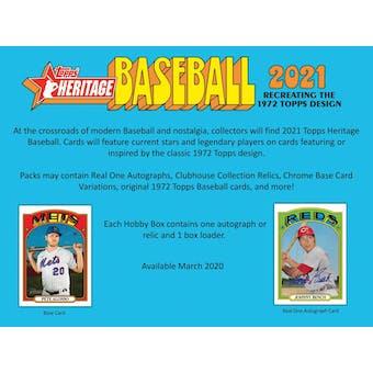 2021 Topps Heritage Baseball Hobby 12-Box Case (Presell)