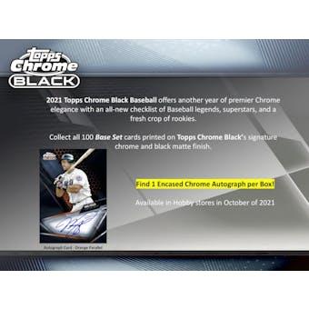 2021 Topps Chrome Black Baseball Hobby Box (Presell)
