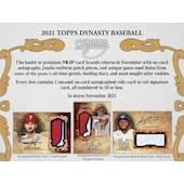 2021 Topps Dynasty Baseball Hobby Box (Presell)