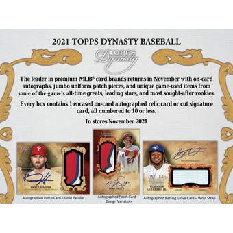 2021 Topps Dynasty Baseball Hobby 5-Box Case (Presell)