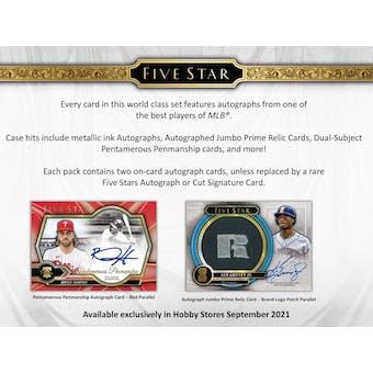 2021 Topps Five Star Baseball Hobby 8-Box Case- DACW Live 6 Spot Division Break #1