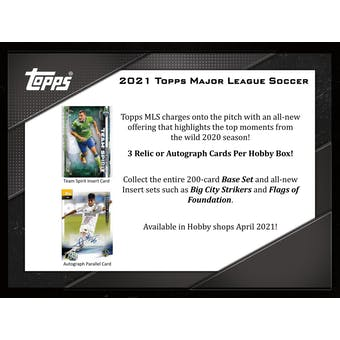 2021 Topps MLS Major League Soccer Hobby Box (Presell)