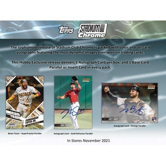 2021 Topps Stadium Club Chrome Baseball Hobby Box (Presell)