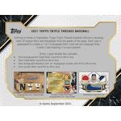 2021 Topps Triple Threads Baseball Hobby 18-Box Case (Presell)