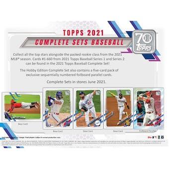 2021 Topps Factory Set Baseball Retail (Box) Case (8 Sets) (Presell)
