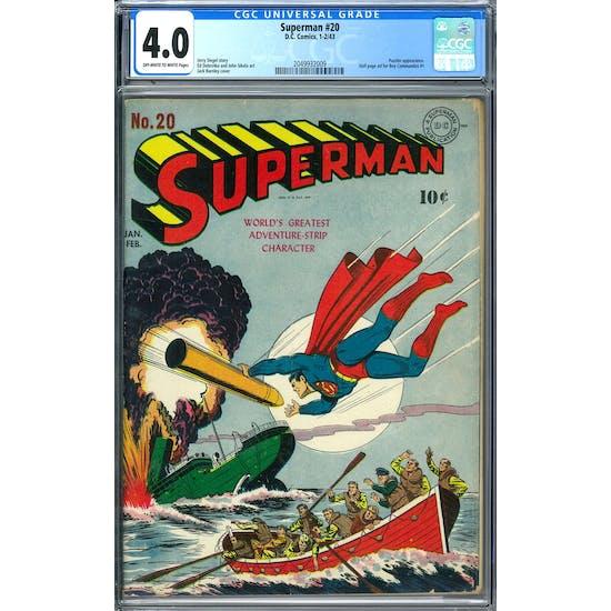 Superman #20 CGC 4.0 (OW-W) *2049932009*