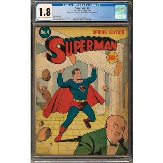 Superman #4 CGC 1.8 (LT-OW) *2073132006*