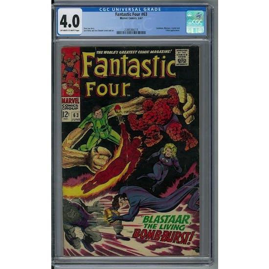 Fantastic Four #63 CGC 4.0 (OW-W) *2088366014*
