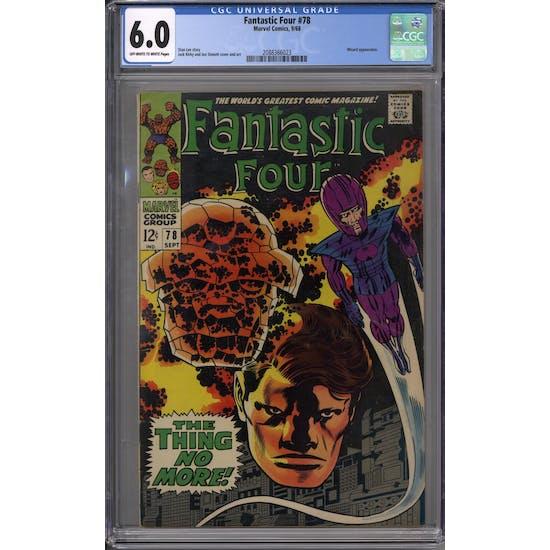 Fantastic Four #78 CGC 6.0 (OW-W) *2088366023*