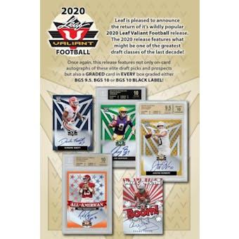 2020 Leaf Valiant Football Hobby Box (Presell)