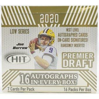 2020 Sage Hit Premier Draft Low Series Football Hobby Box