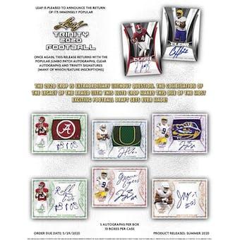 2020 Leaf Trinity Football Hobby Box (Presell)