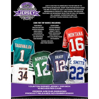 2020 Leaf Autographed Football Jersey Hobby Box