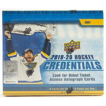 2019/20 Upper Deck Credentials Hockey Hobby Box