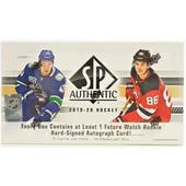 2019/20 Upper Deck SP Authentic Hockey Hobby Box
