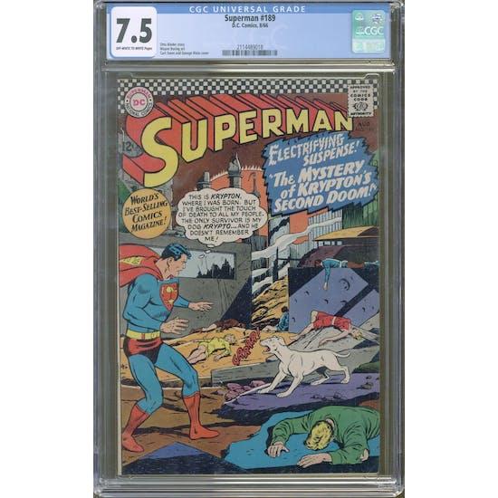 Superman #189 CGC 7.5 (OW-W) *2114489018*