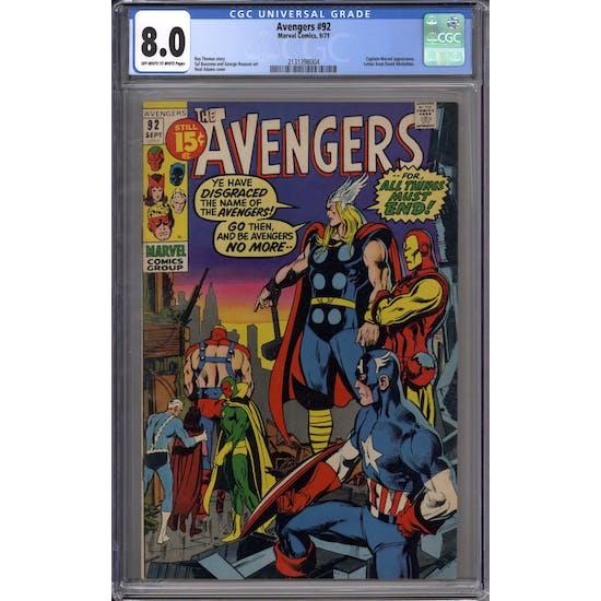 Avengers #92 CGC 8.0 (OW-W) *2131398004*