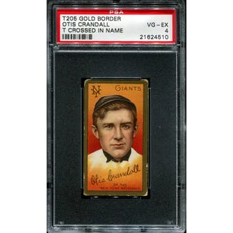 1911 T205 Gold Border Cycle Otis Crandall (T Crossed In Name) PSA 4 (VG-EX) *4510