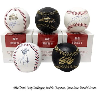 2021 Hit Parade Autographed Baseball Hobby Box - Series 5 - Trout, H. Aaron, Betts, Koufax, & Acuna!!